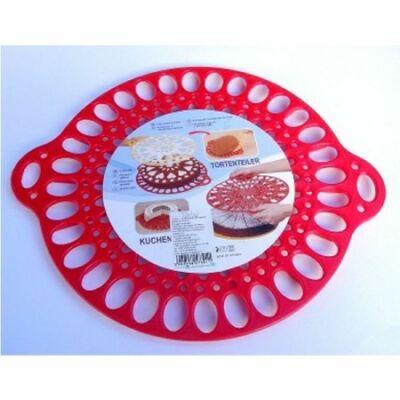 Perfect Home 72184 ovális tortadíszítő, tartó és szeletelő, piros
