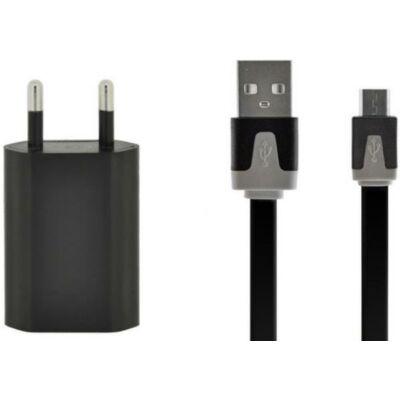 4-OK hálózati töltő USB aljzattal (microUSB, 5V/1000mA) fekete