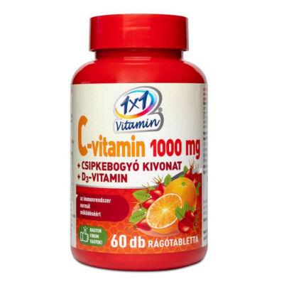1×1 Vitamin C-vitamin 1000 mg + D3 rágótabletta csipkebogyóval, 60 db