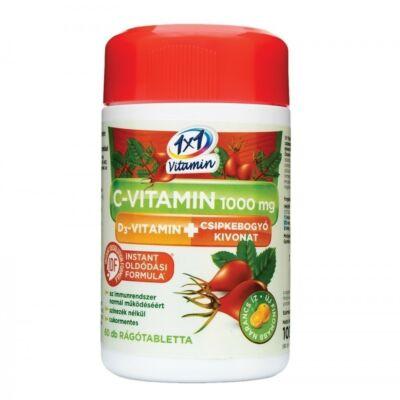 1x1 VITADAY C-Vitamin + D3 vitamin+Csipkebogyó Rágótabletta 60 db