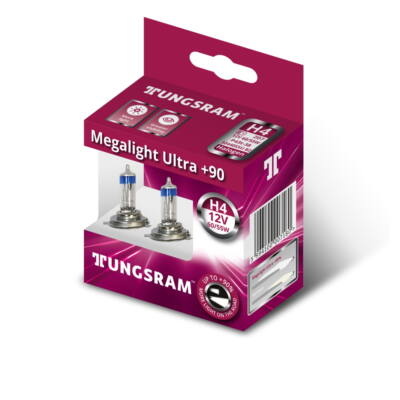 Tungsram Megalight Ultra +90% H4 50440SXU autó izzó, 2db/csomag