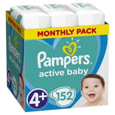 Pampers Active Baby Dry pelenka Monthly Box 4+ maxi (9-16 kg) 152 db