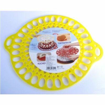 Perfect Home 72184 ovális tortadíszítő, tartó és szeletelő, sárga